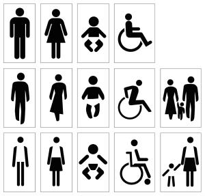 Iconography near bathrooms. AGIA (top), MoMA NYC (middle), Pompidou Paris (bottom)