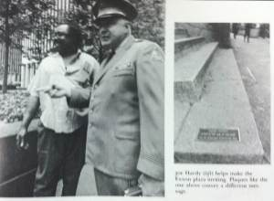 mayor/guard Joe Hardy of the Exxon Plaza (left) and a bronze plaque (right) restating ownership of the plaza sending different messages to those who use the plaza